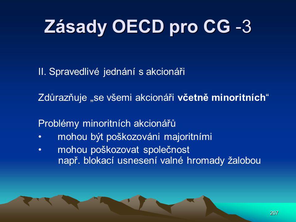 Zásady OECD pro CG -3 II. Spravedlivé jednání s akcionáři