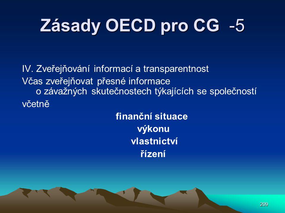 Zásady OECD pro CG -5 IV. Zveřejňování informací a transparentnost