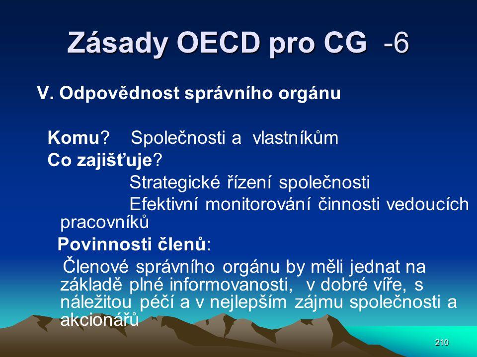 Zásady OECD pro CG -6 V. Odpovědnost správního orgánu
