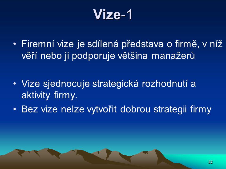 Vize-1 Firemní vize je sdílená představa o firmě, v níž věří nebo ji podporuje většina manažerů.