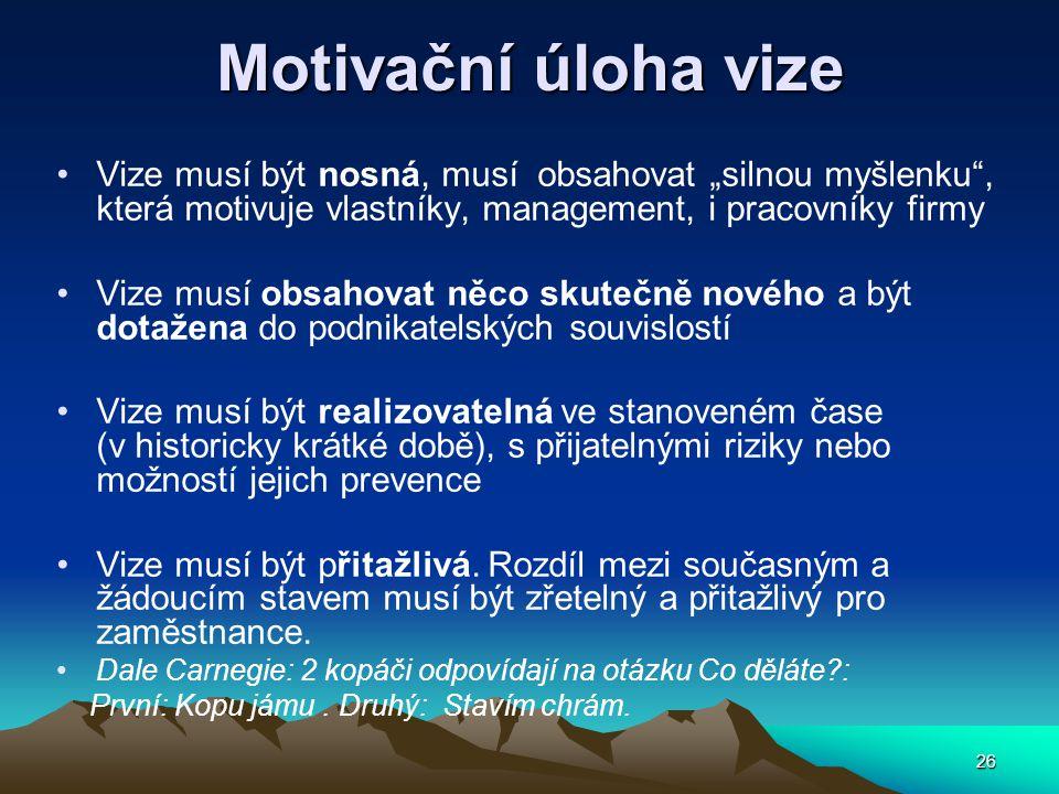 """Motivační úloha vize Vize musí být nosná, musí obsahovat """"silnou myšlenku , která motivuje vlastníky, management, i pracovníky firmy."""