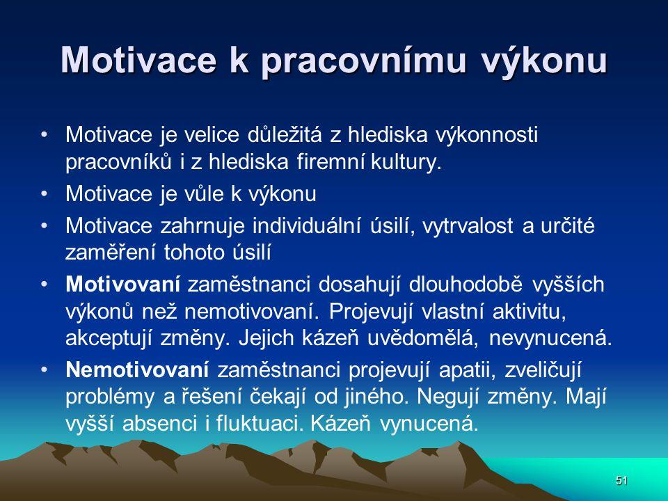 Motivace k pracovnímu výkonu