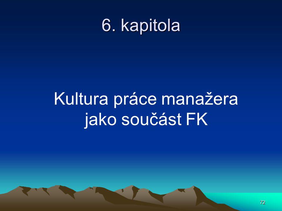 Kultura práce manažera jako součást FK