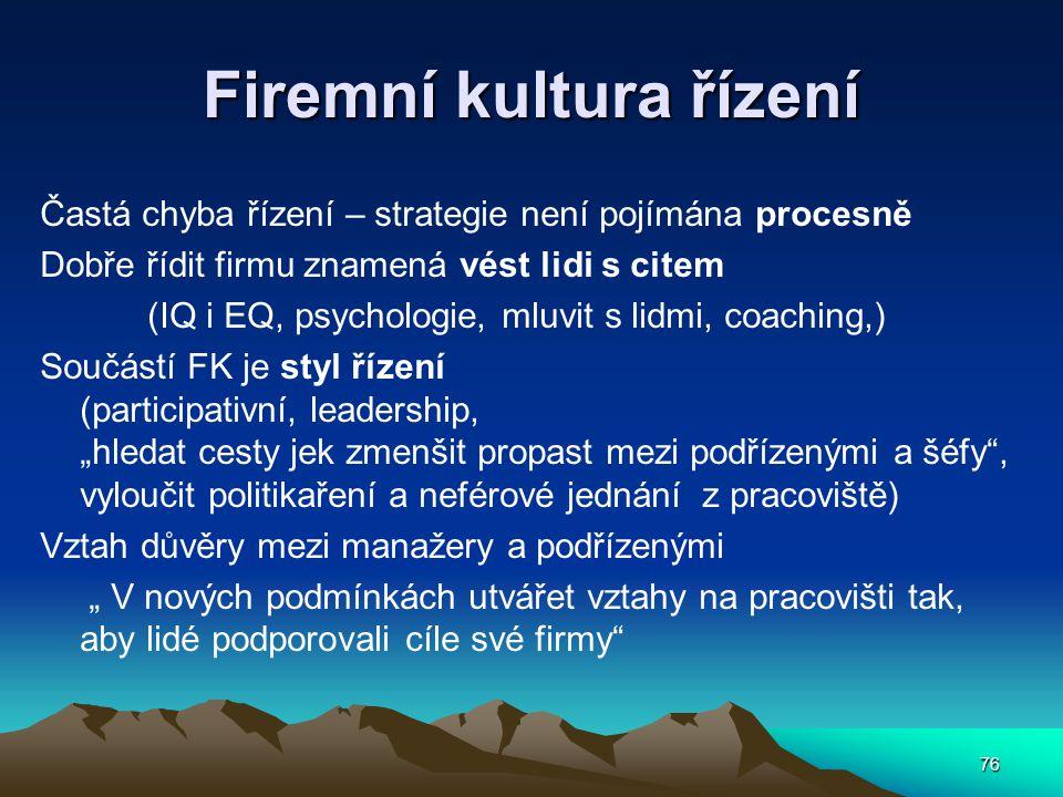Firemní kultura řízení