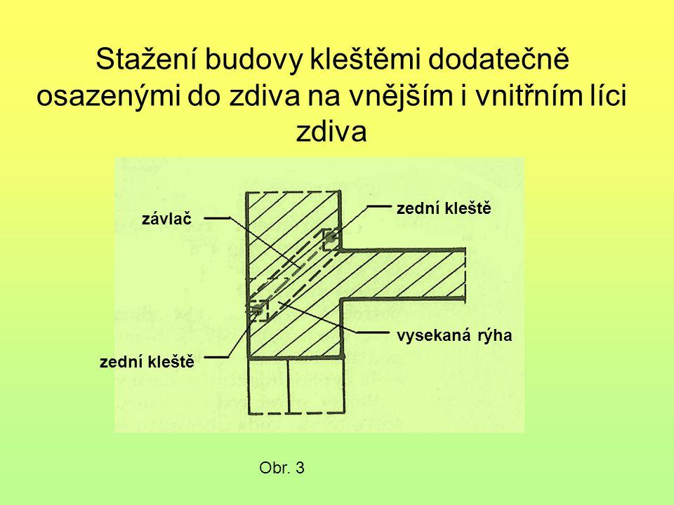 Stažení budovy kleštěmi dodatečně osazenými do zdiva na vnějším i vnitřním líci zdiva