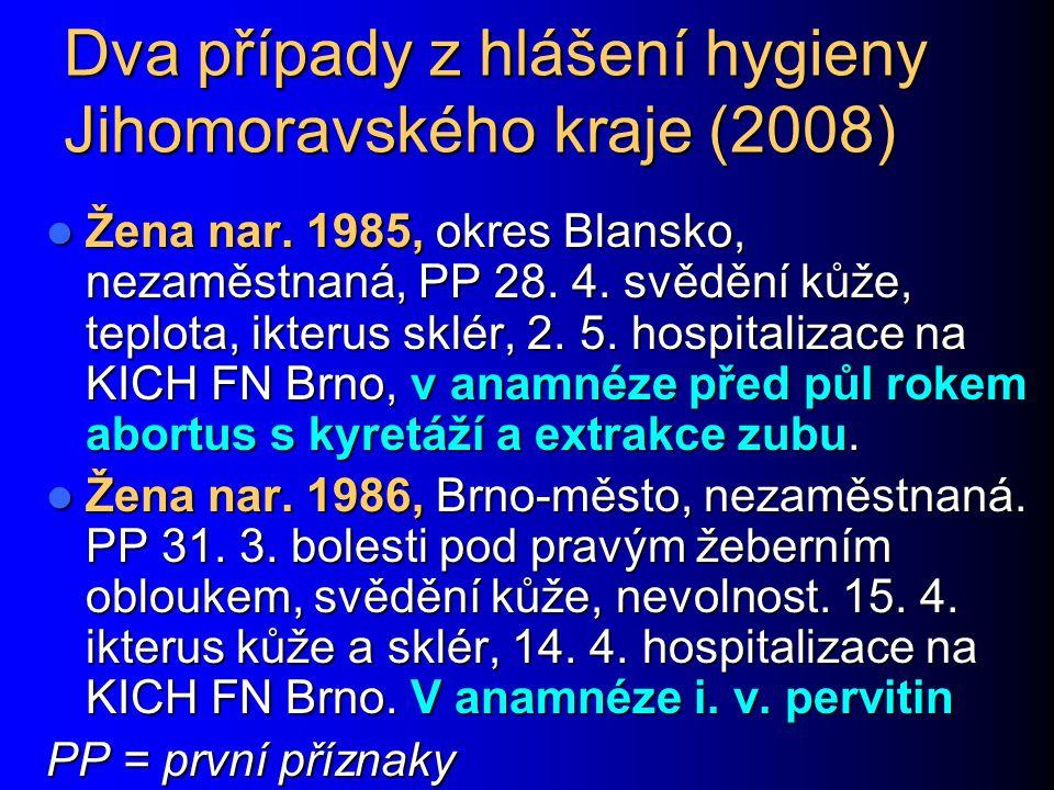 Dva případy z hlášení hygieny Jihomoravského kraje (2008)