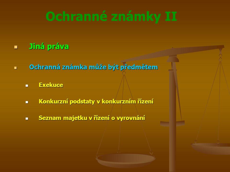 Jiná práva Ochranná známka může být předmětem Exekuce