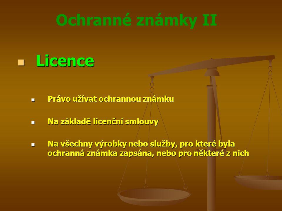 Licence Právo užívat ochrannou známku Na základě licenční smlouvy