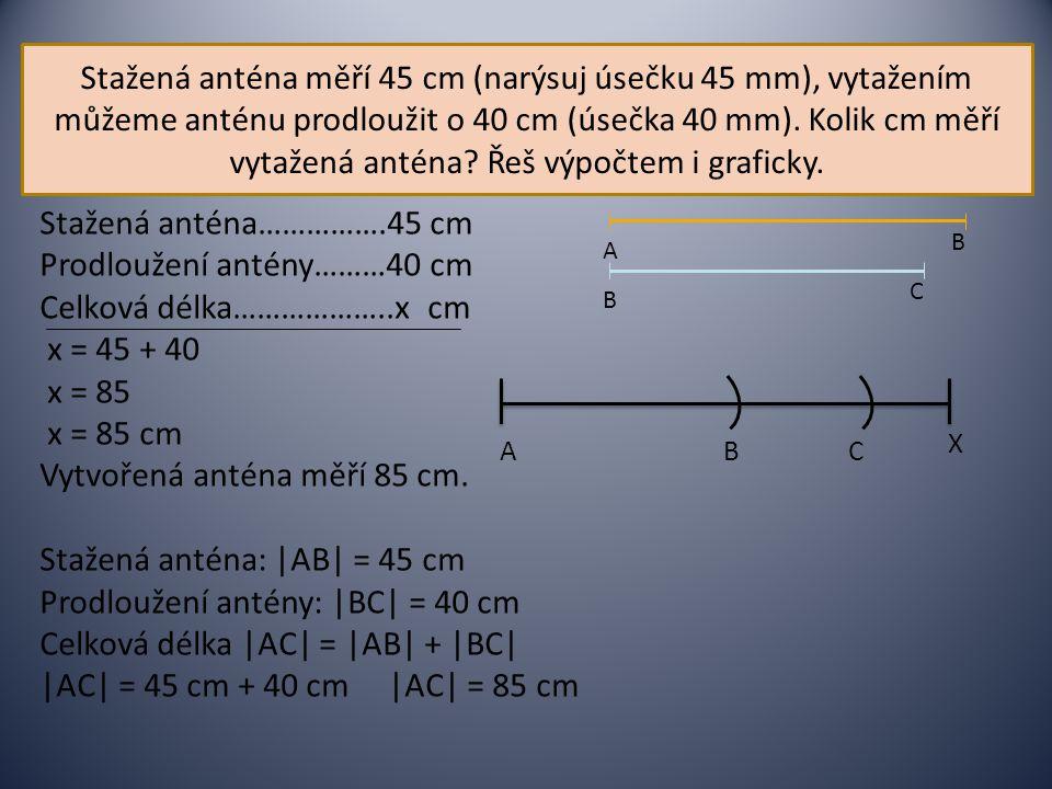 Stažená anténa…………….45 cm Prodloužení antény………40 cm