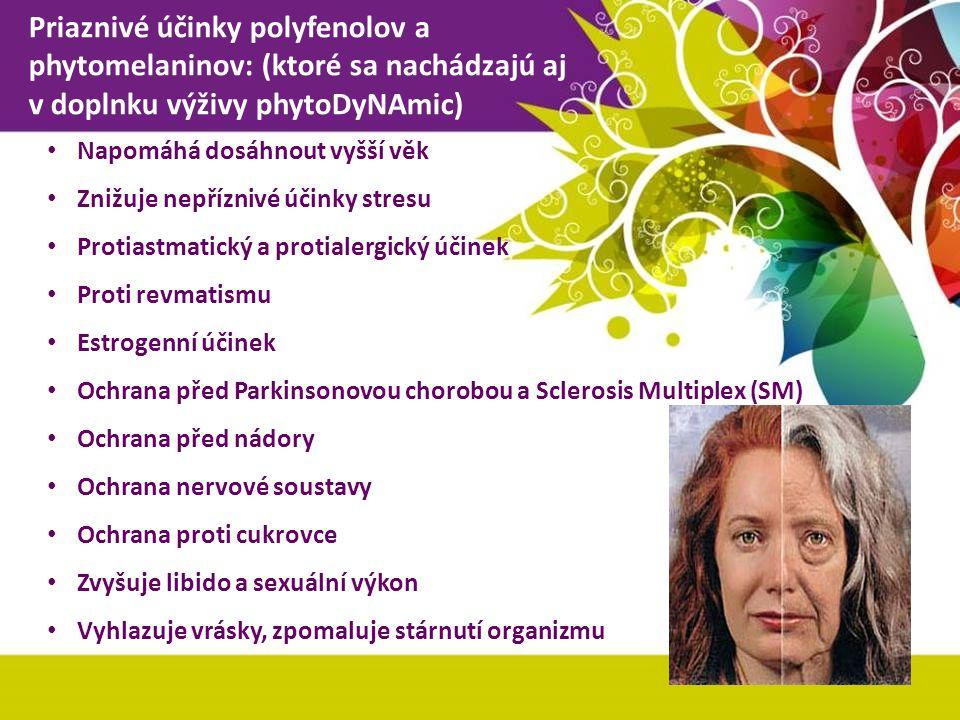 Priaznivé účinky polyfenolov a phytomelaninov: (ktoré sa nachádzajú aj