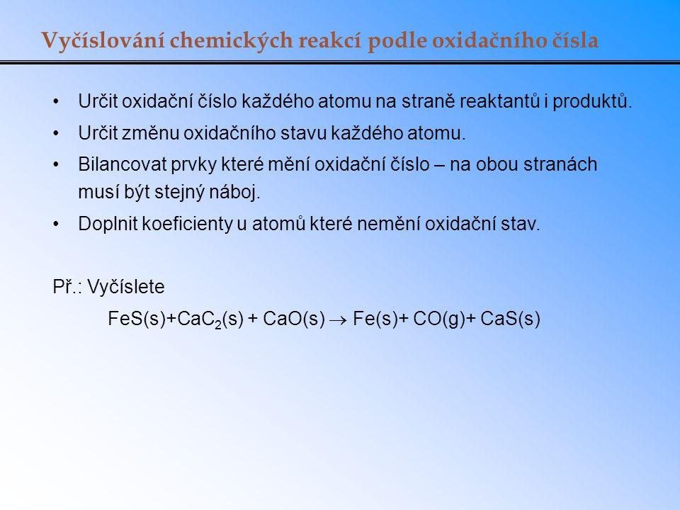 Vyčíslování chemických reakcí podle oxidačního čísla