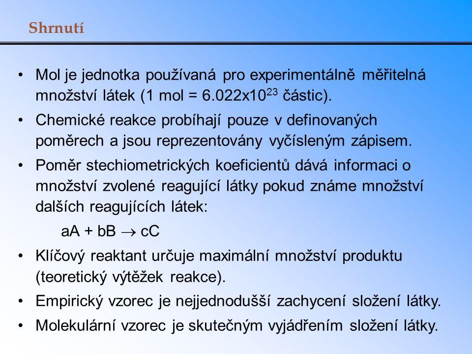 Shrnutí Mol je jednotka používaná pro experimentálně měřitelná množství látek (1 mol = 6.022x1023 částic).