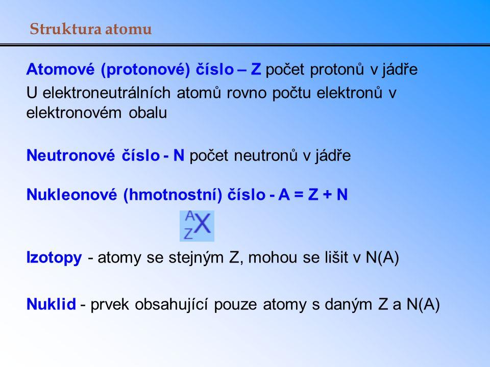 Struktura atomu Atomové (protonové) číslo – Z počet protonů v jádře. U elektroneutrálních atomů rovno počtu elektronů v elektronovém obalu.