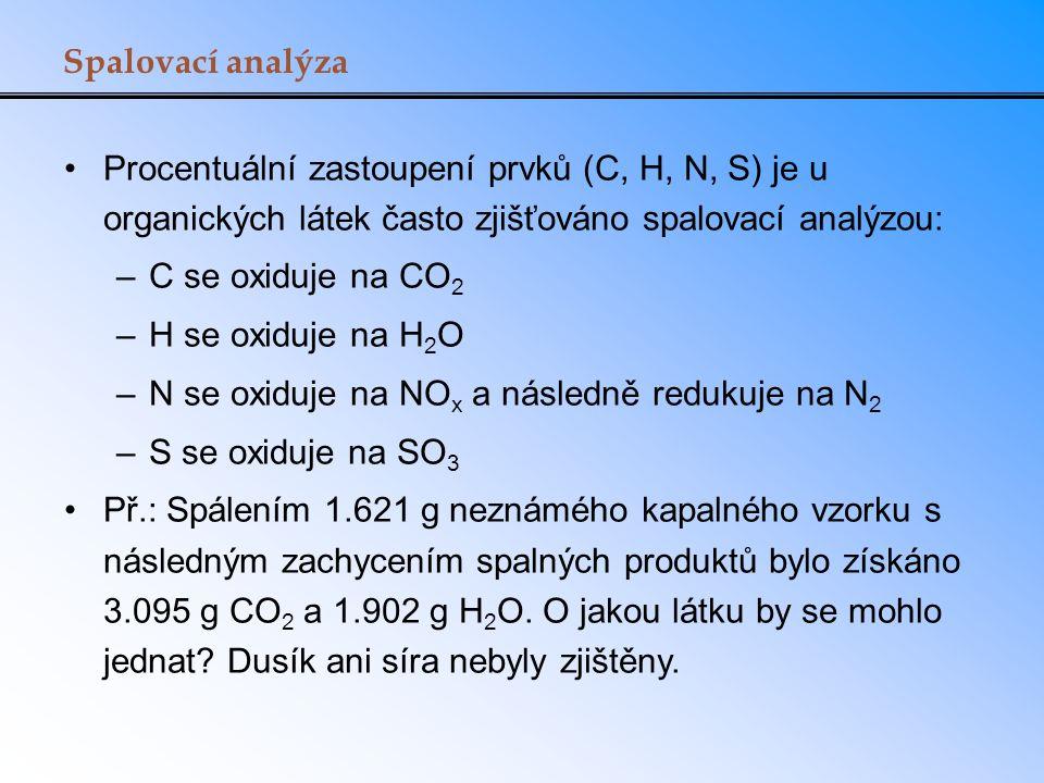 Spalovací analýza Procentuální zastoupení prvků (C, H, N, S) je u organických látek často zjišťováno spalovací analýzou: