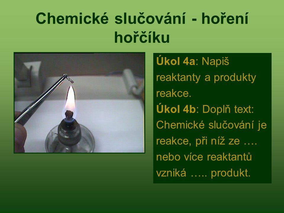 Chemické slučování - hoření hořčíku
