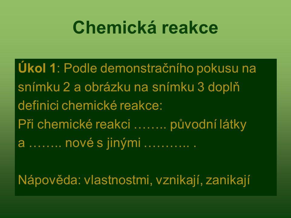 Chemická reakce Úkol 1: Podle demonstračního pokusu na