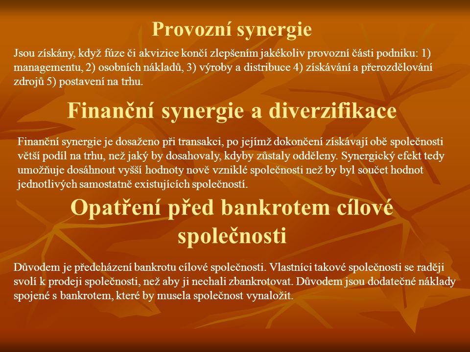 Finanční synergie a diverzifikace