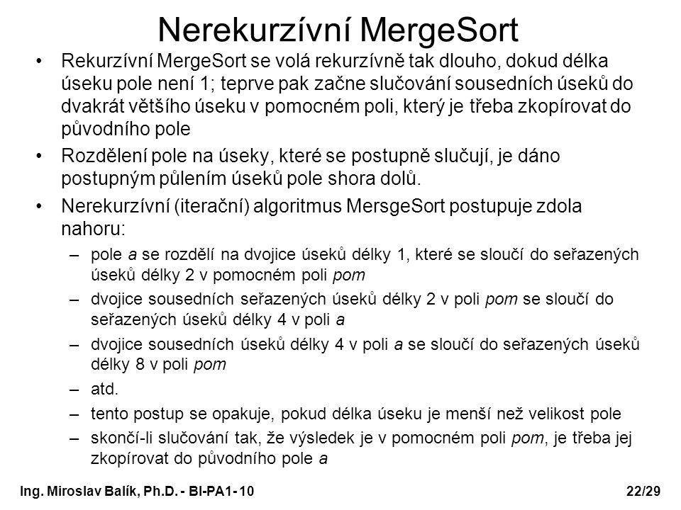 Nerekurzívní MergeSort