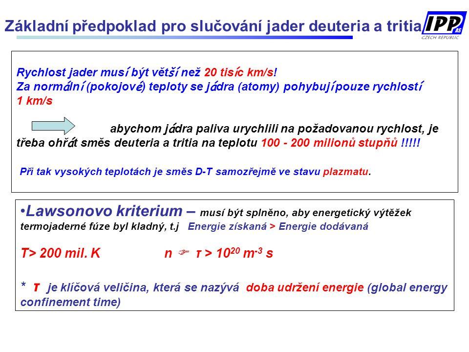 Základní předpoklad pro slučování jader deuteria a tritia