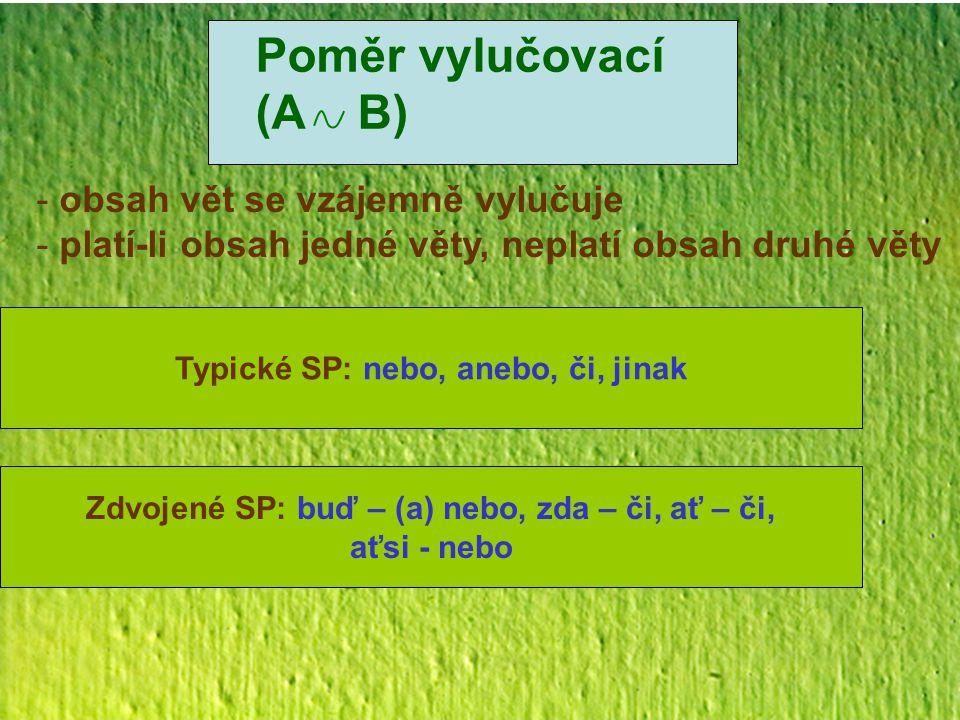 Poměr vylučovací (A B) obsah vět se vzájemně vylučuje