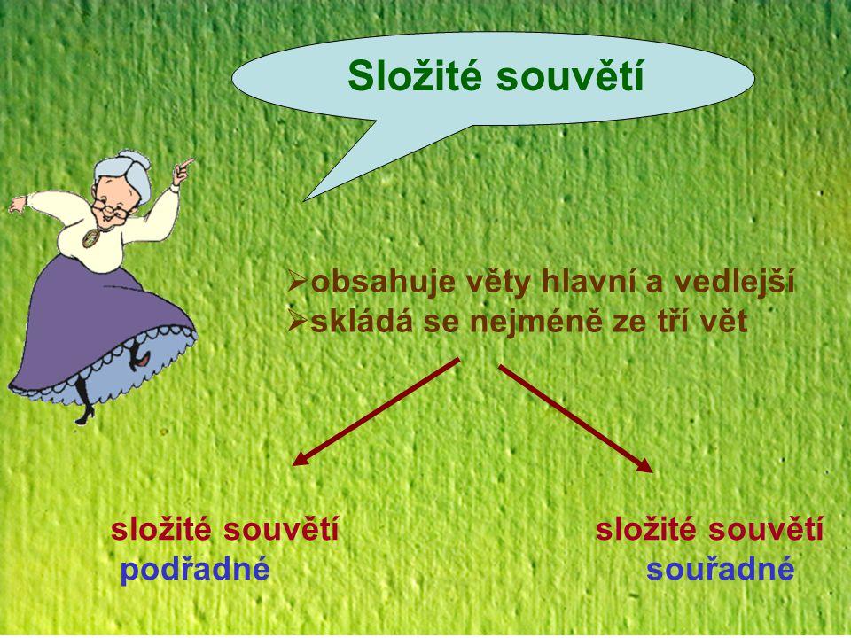 Složité souvětí obsahuje věty hlavní a vedlejší