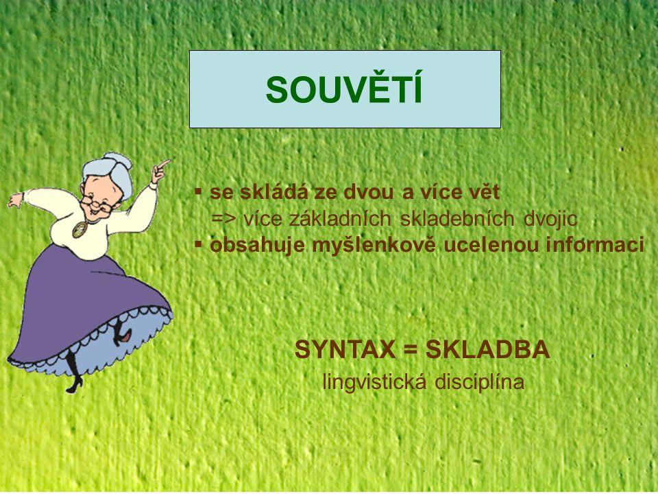 SOUVĚTÍ SYNTAX = SKLADBA lingvistická disciplína