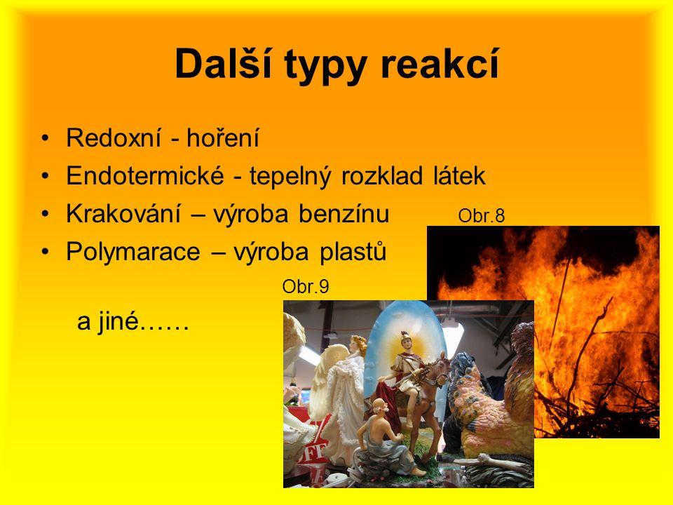 Další typy reakcí Redoxní - hoření