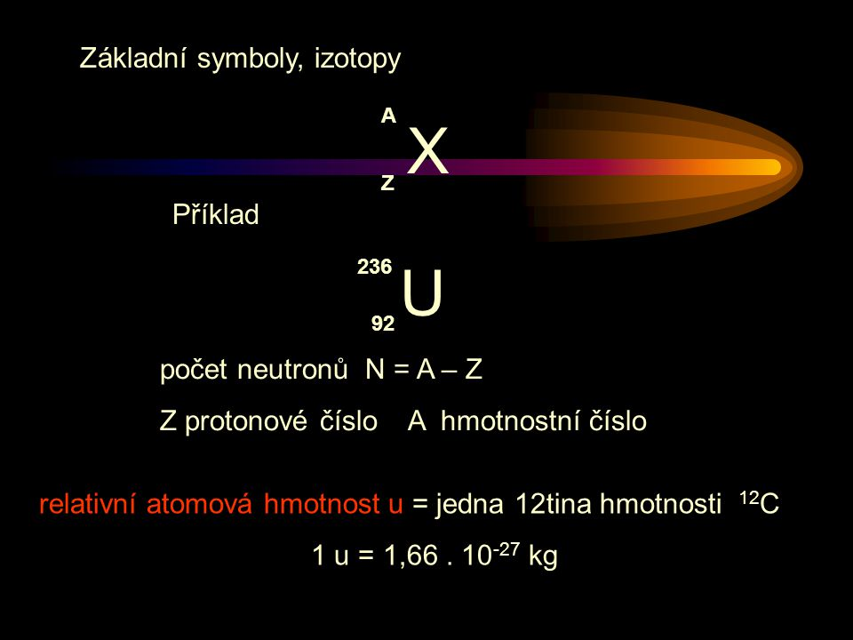 X U Základní symboly, izotopy Příklad počet neutronů N = A – Z