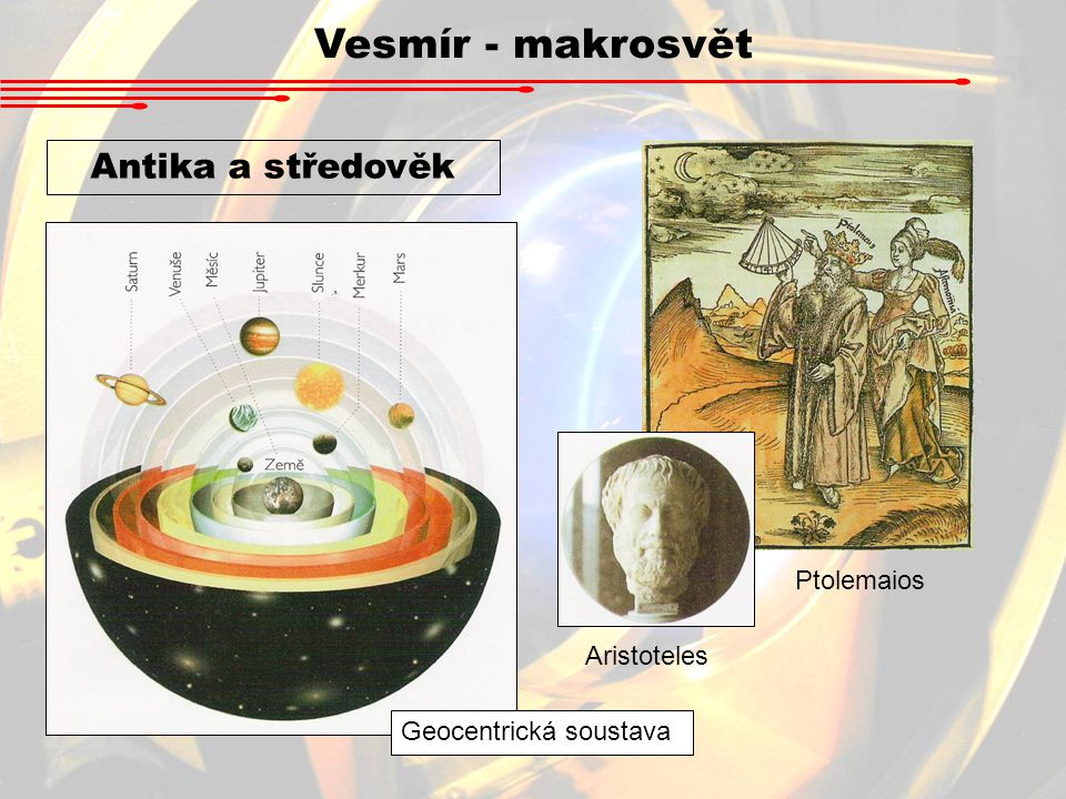 Vesmír - makrosvět Antika a středověk Ptolemaios Aristoteles