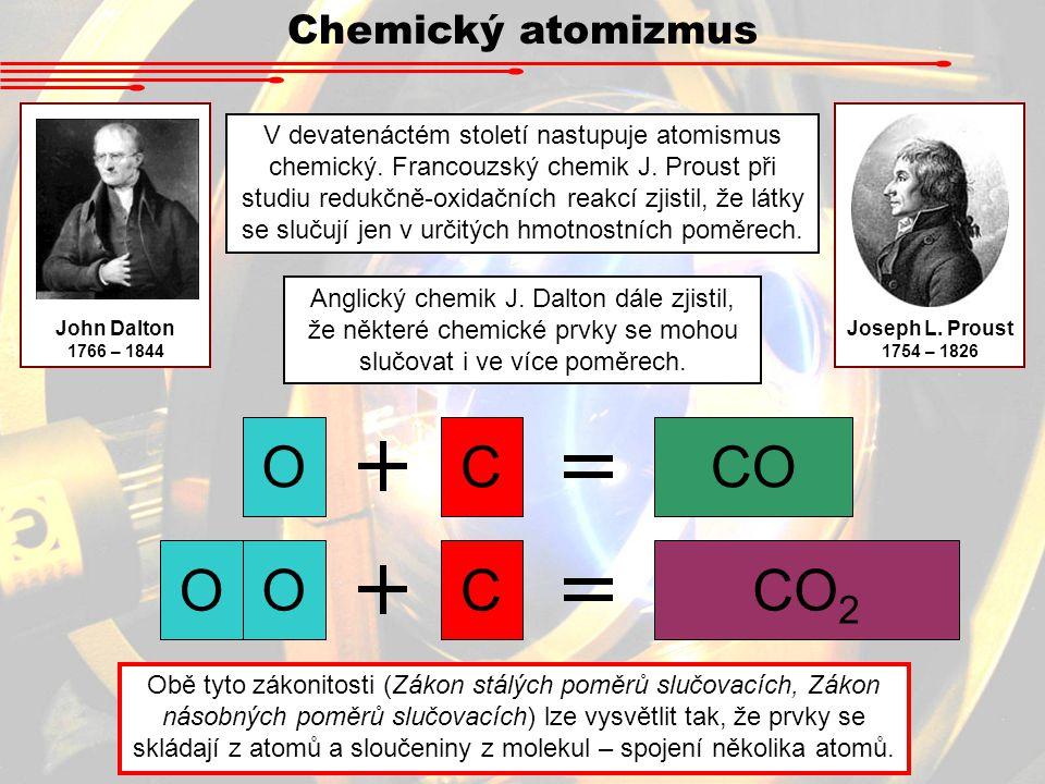 O C CO CO2 Chemický atomizmus