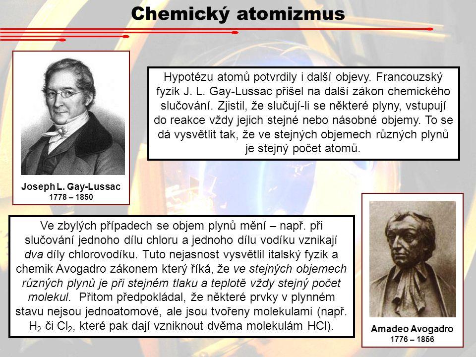 Chemický atomizmus Joseph L. Gay-Lussac. 1778 – 1850.