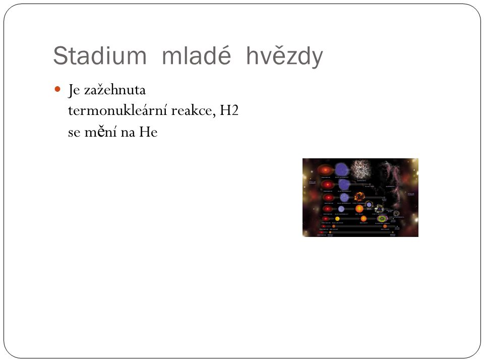 Stadium mladé hvězdy Je zažehnuta termonukleární reakce, H2 se mění na He