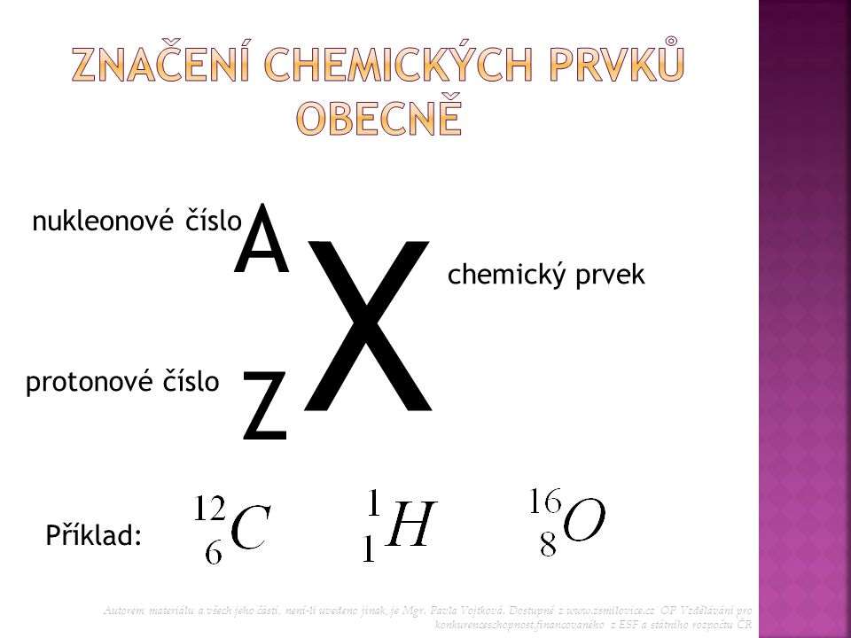 Značení chemických prvků obecně