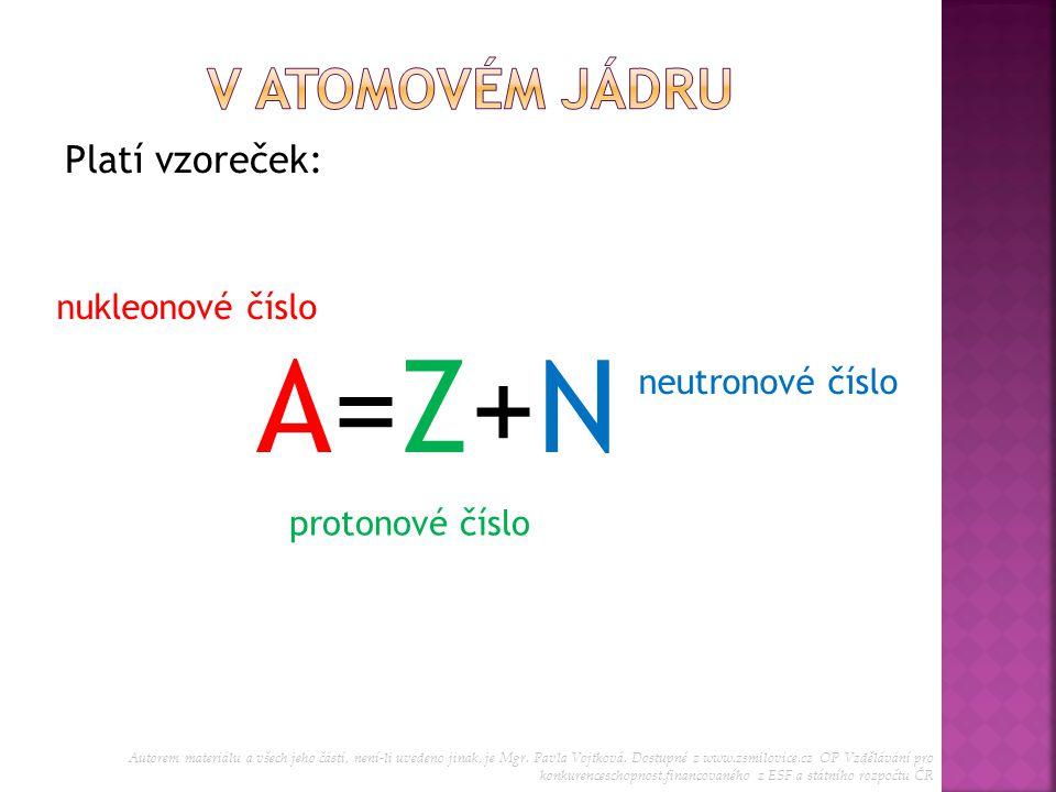 A=Z+N V atomovém jádru Platí vzoreček: nukleonové číslo