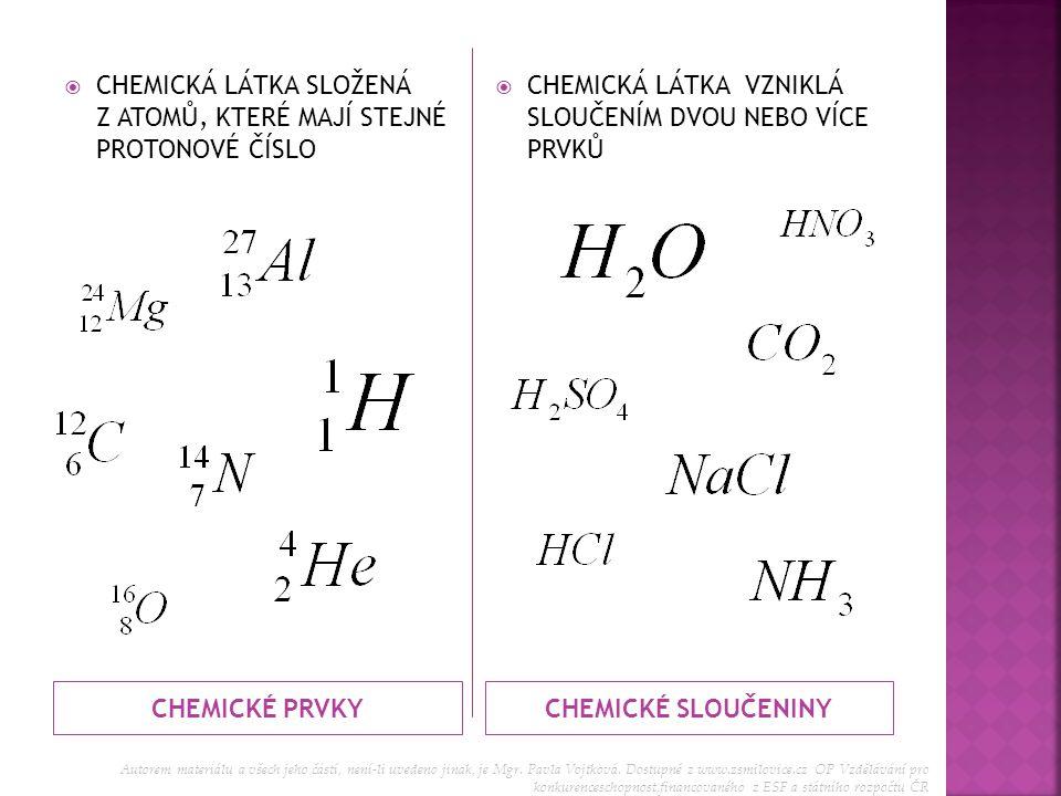 CHEMICKÉ PRVKY CHEMICKÉ SLOUČENINY
