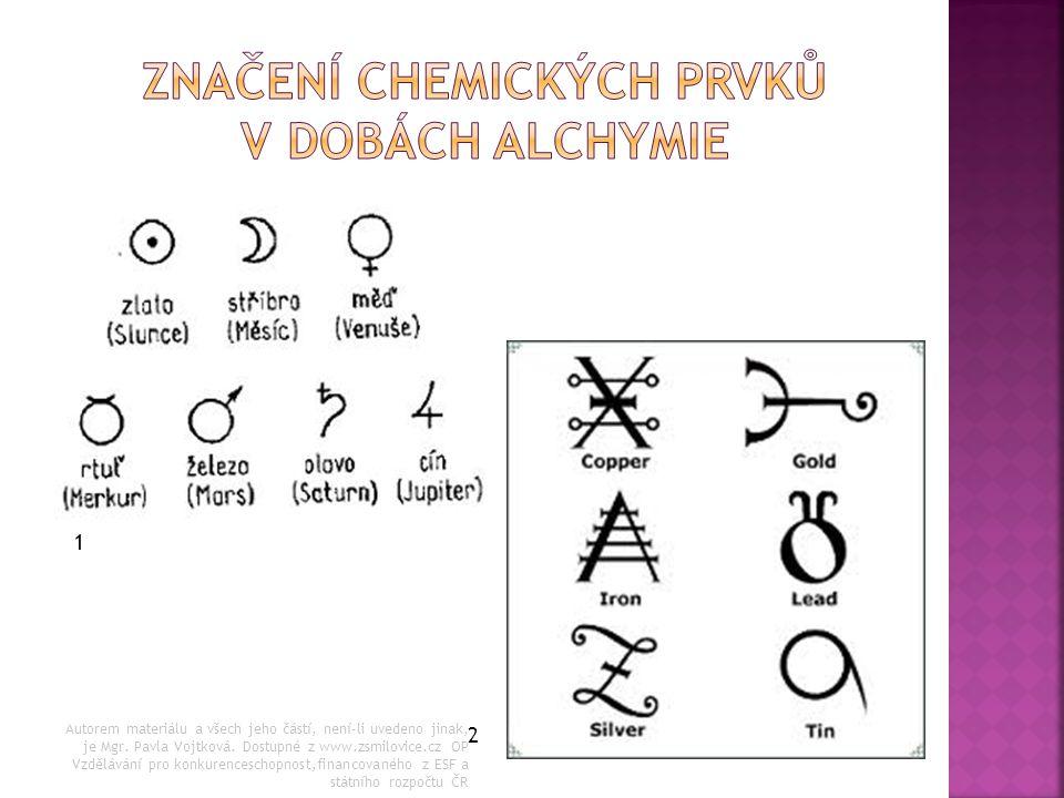 Značení chemických prvků v dobách alchymie