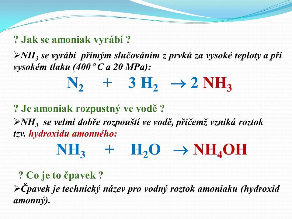 N2 + 3 H2  2 NH3 NH3 + H2O  NH4OH Jak se amoniak vyrábí