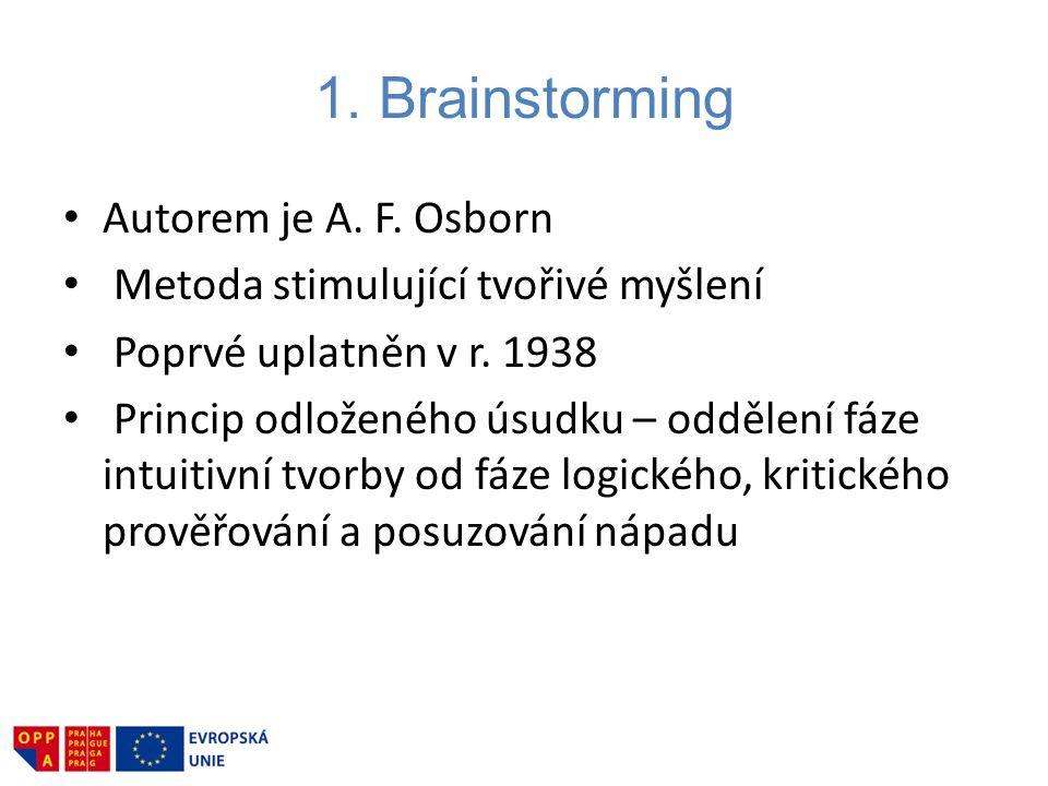 1. Brainstorming Autorem je A. F. Osborn