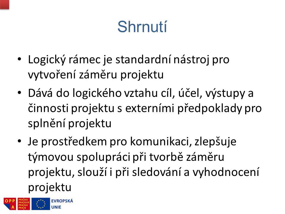 srpen 2009 Shrnutí. Logický rámec je standardní nástroj pro vytvoření záměru projektu.
