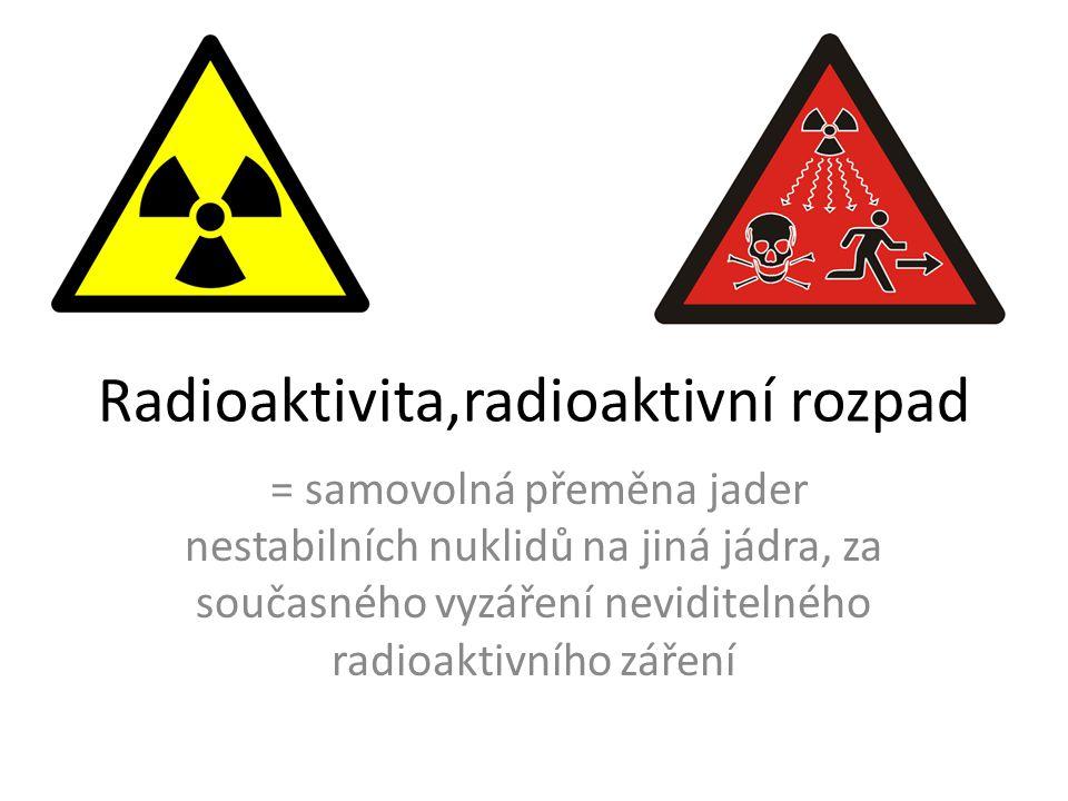 Radioaktivita,radioaktivní rozpad