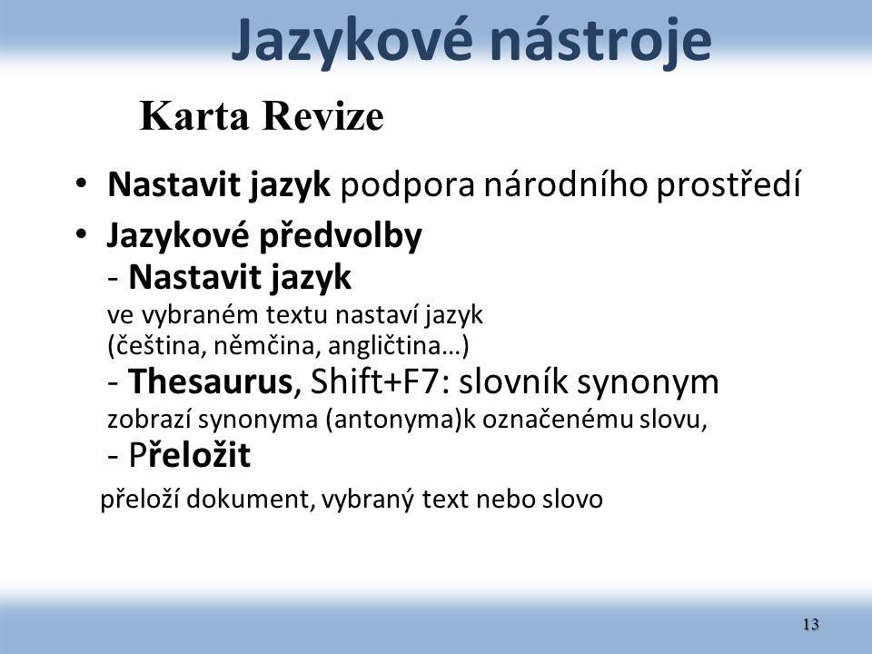 Jazykové nástroje Karta Revize