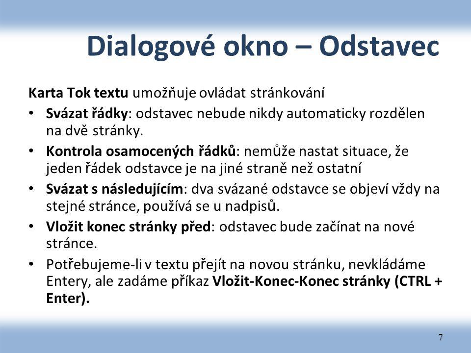 Dialogové okno – Odstavec