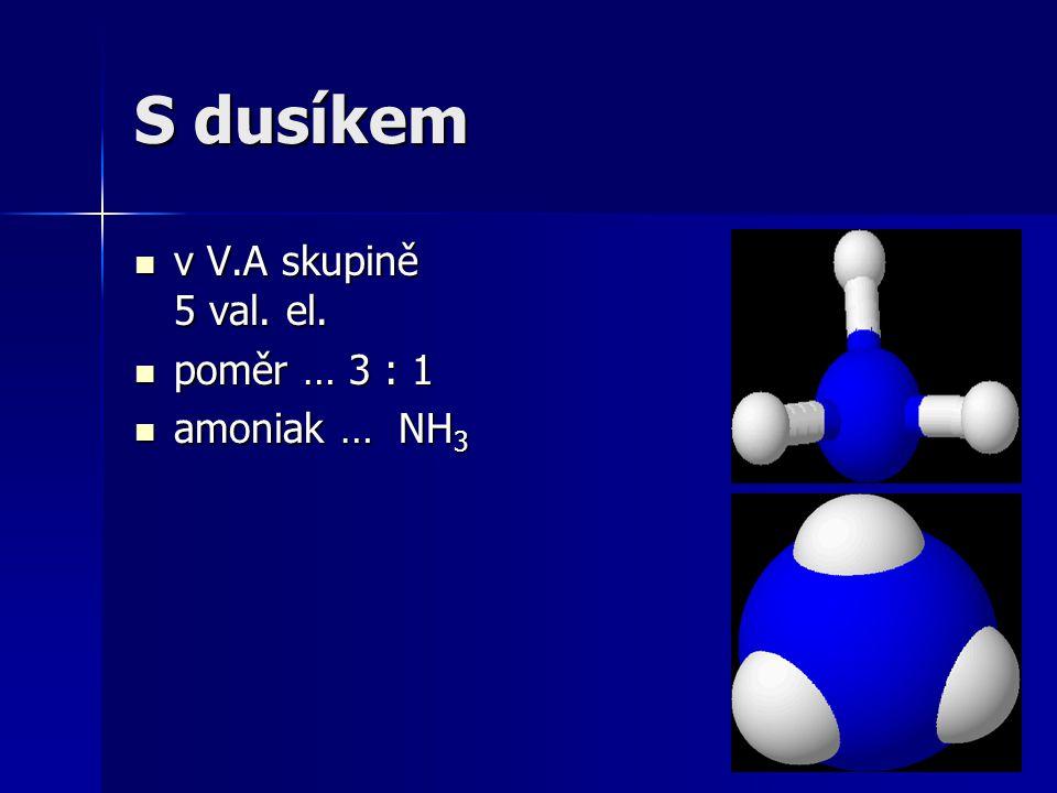 S dusíkem v V.A skupině 5 val. el. poměr … 3 : 1 amoniak … NH3