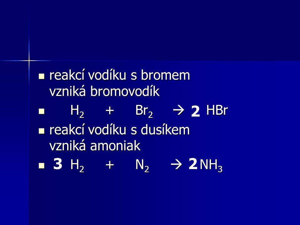 2 3 2 reakcí vodíku s bromem vzniká bromovodík H2 + Br2  HBr