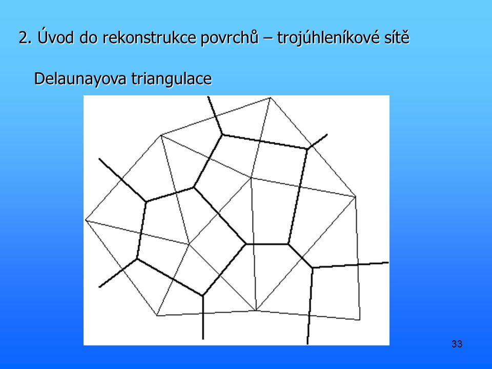 2. Úvod do rekonstrukce povrchů – trojúhleníkové sítě