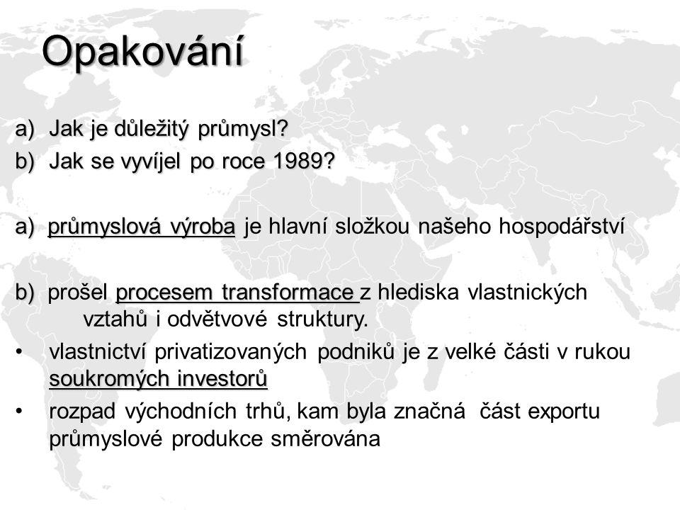 Opakování Jak je důležitý průmysl Jak se vyvíjel po roce 1989