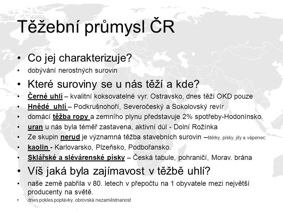 Těžební průmysl ČR Co jej charakterizuje