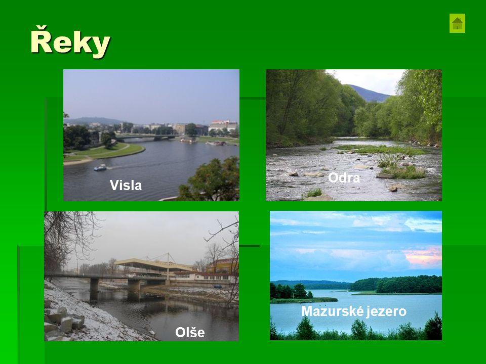 Řeky Visla Odra Olše Mazurské jezero