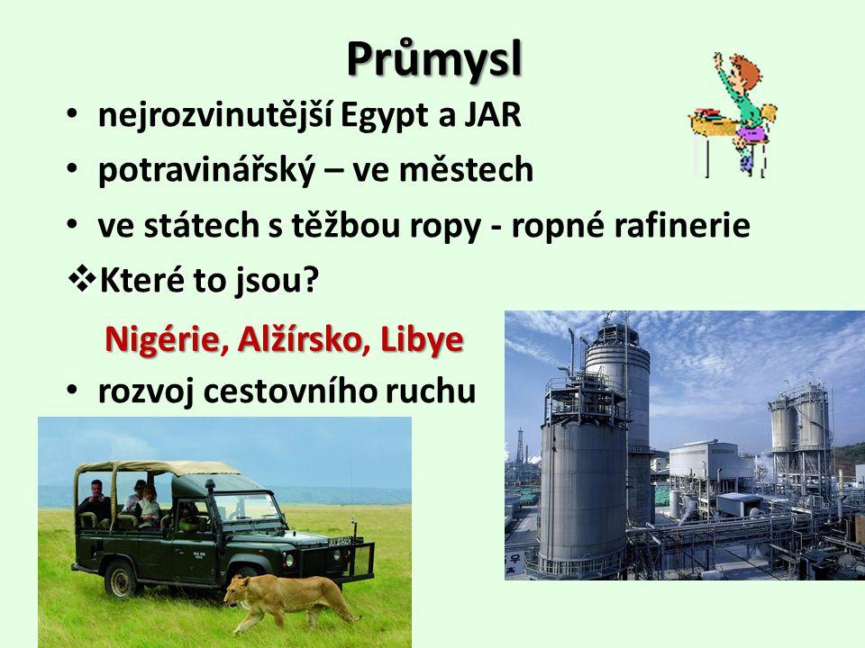 Průmysl nejrozvinutější Egypt a JAR potravinářský – ve městech