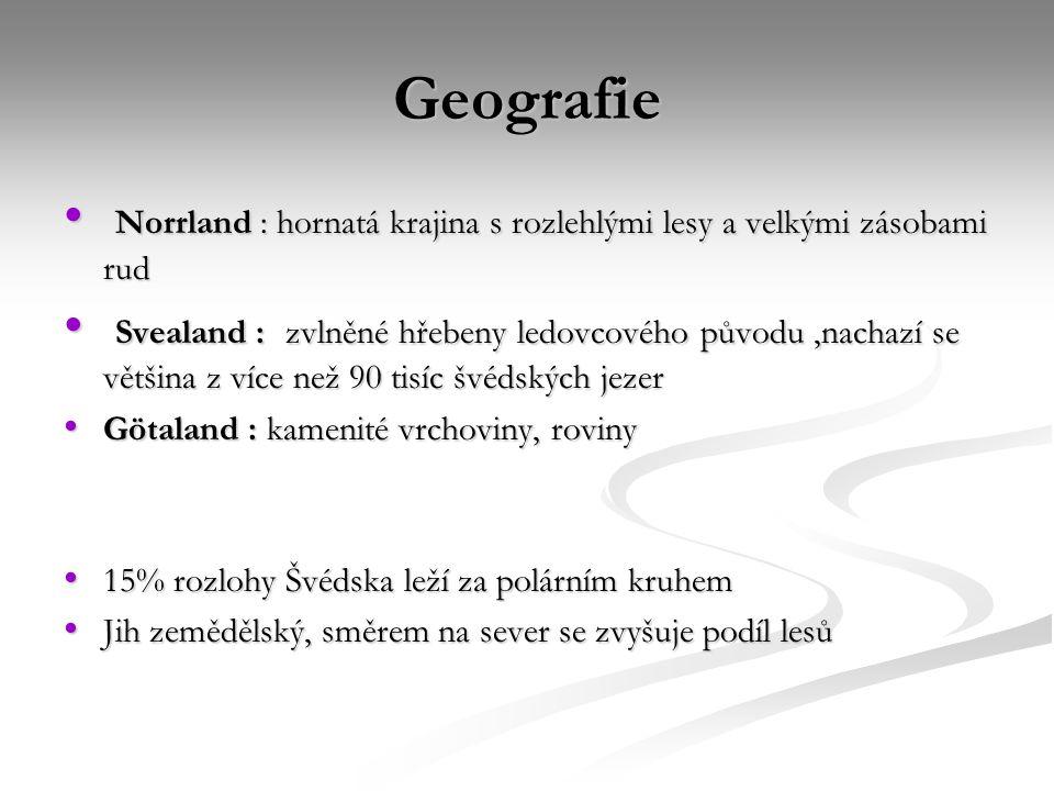 Geografie Norrland : hornatá krajina s rozlehlými lesy a velkými zásobami rud.